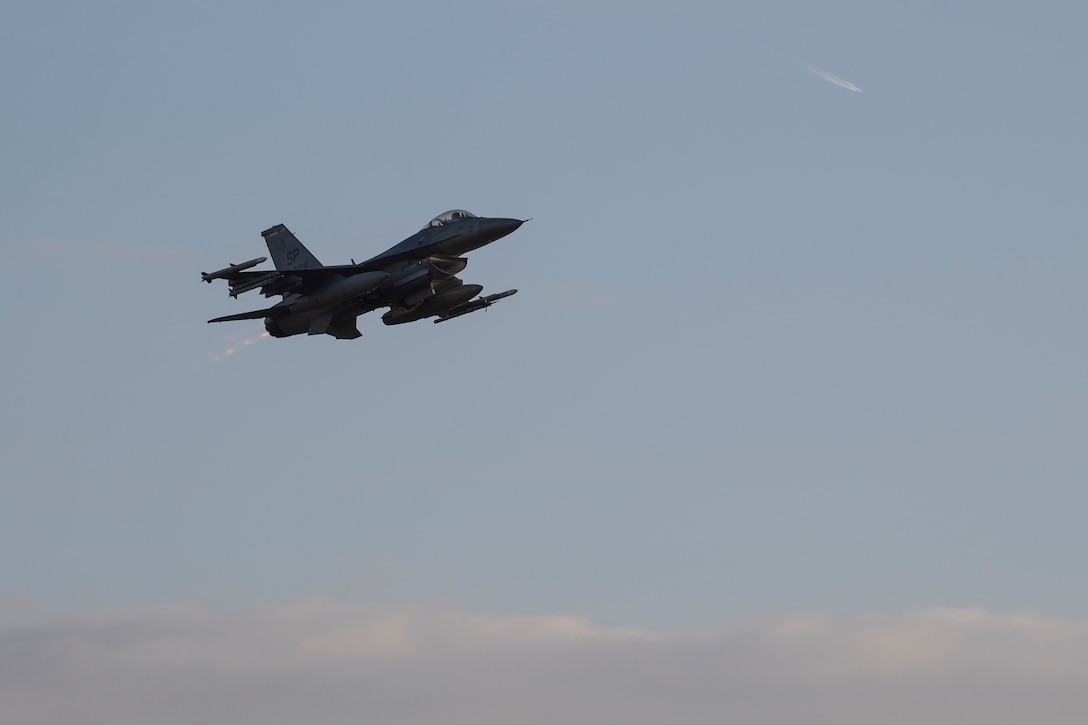 A U.S. Air Force F-16 Fighting Falcon, assigned to the 480th Fighter Squadron, takes off at Spangdahlem Air Base, Germany, Dec. 10, 2019. Spangdahlem F-16s participated in a multinational Allied Combat Lethality Exercise to strengthen U.S. Air Forces in Europe and NATO deterrence efforts. (U.S. Air Force photo by Airman 1st Class Valerie Seelye)