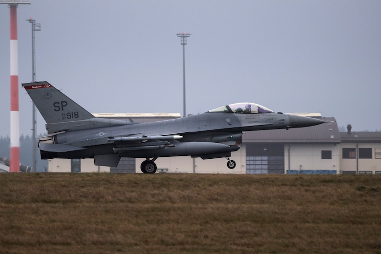 A U.S. Air Force F-16 Fighting Falcon, assigned to the 480th Fighter Squadron, lands at Spangdahlem Air Base, Germany, Dec. 10, 2019. Spangdahlem F-16s participated in an Allied Combat Lethality Exercise with the Polish air force to improve readiness and coordination with NATO partners in preparation for potential times of crisis. (U.S. Air Force photo by Airman 1st Class Valerie Seelye)