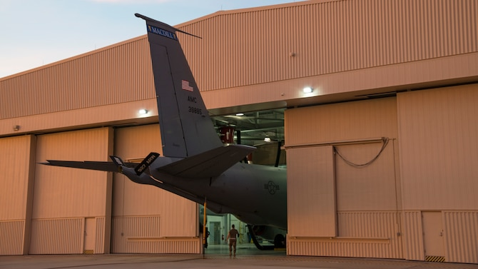A KC-135 Stratotanker sits in the 6th Maintenance Squadron (MXS) hangar at MacDill Air Force Base, Fla., Nov. 25, 2019.