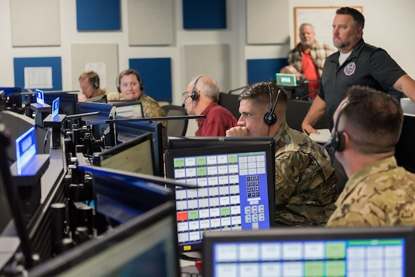 Members of the 45th Operations Group, Detachment 3, participate in an exercise on Nov. 20, 2019, in the Support Operations Center at Patrick Air Force Base, Fla. Det 3 is the only unit within the Department of Defense tasked to support contingency operations during Commercial Crew Program rocket launches, and is preparing for the planned return of human spaceflight within the next few months. (U.S. Air Force photo by Joshua Conti)
