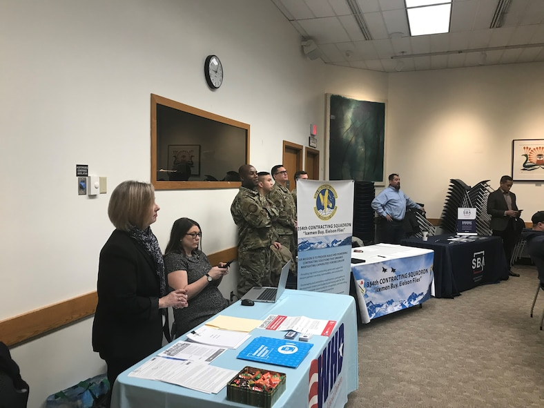 Airmen assigned to 354th Contracting Squadron attend the 2019 Interior Alaska Industry Day in Fairbanks, Alaska, Dec. 3, 2019. At the event information about upcoming Fiscal Year 2020 projects, to include the projects associated with the arrival of the F-35A Lightning II here, beginning in April of 2020, were presented to local businesses. (Courtesy Photo)