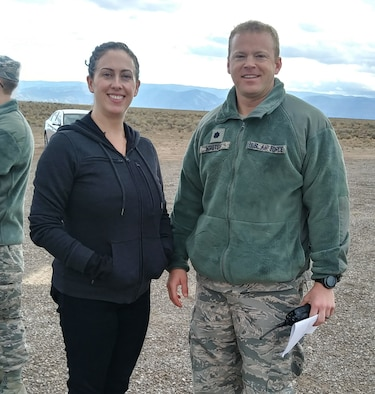 Senator Tom Udall's Field Representative, Elizabeth Driggers and Lt Col Matthew Wroten, 846th Test Squadron Commander, pose for a photo Nov. 22, 2019, on Holloman Air Force Base, N.M. Driggers's trip to the Test Group focused on familiarization and orientation of activities and capabilities. (U.S. Air Force photo by Dwight Harp)