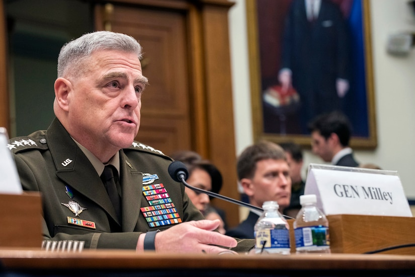 A military leader testifies at a hearing.