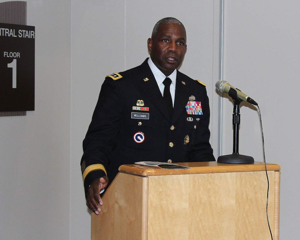 Army Lt. Gen. Darrell Williams, director of the Defense Logistics Agency, speaks during the ribbon cutting ceremony for the new Defense Logistics Agency Troop Support headquarters building on Dec. 10, 2019. The new, four-story building includes amenities for 400 members of the Troop Support workforce. (Photo by Nancy Benecki)