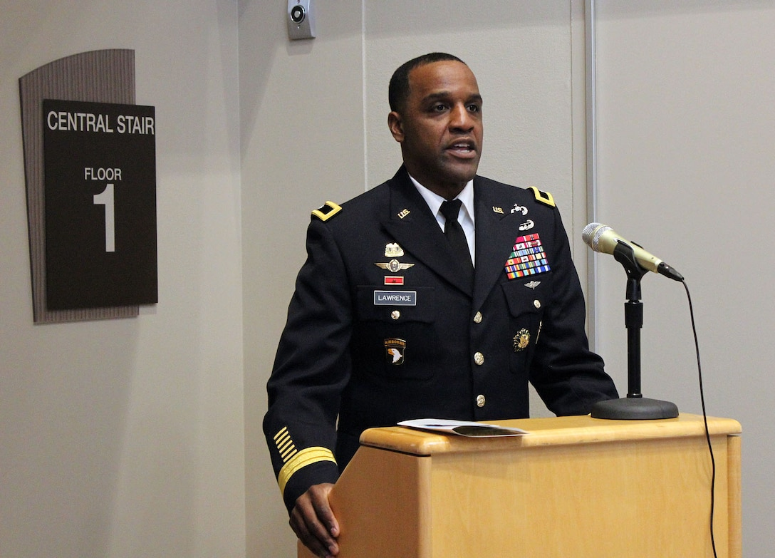 Army Brig. Gen. Gavin Lawrence, commander of Defense Logistics Agency Troop Support, addresses the attendees during a ribbon cutting ceremony for its new headquarters building in Philadelphia on Dec. 10, 2019. The 108,500-square-foot, four-story building was completed in October, and is Leadership in Energy and Environmental Design certified. (Photo by Nancy Benecki)