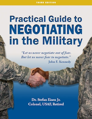 Book cover with the title Practical Guide to Negotiating in the Military, Third Edition.