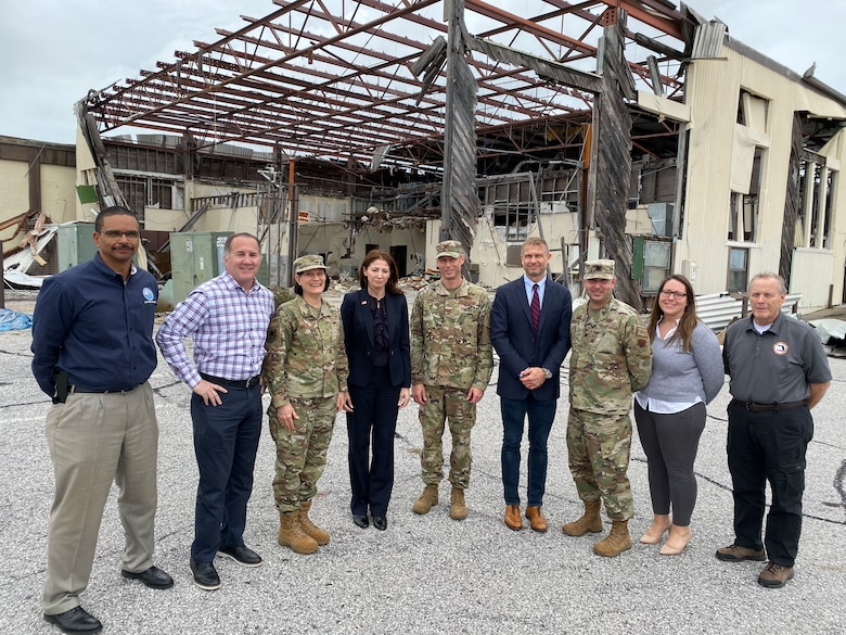 Brigadier Gen. Patrice Melancon (third from left), Tyndall Program Management Office (PMO) executive director, hosted Dr. Julia Nesheiwat (fourth from the left), Florida chief resilience officer, as her and her staff visited with personnel from Tyndall AFB and the PMO.