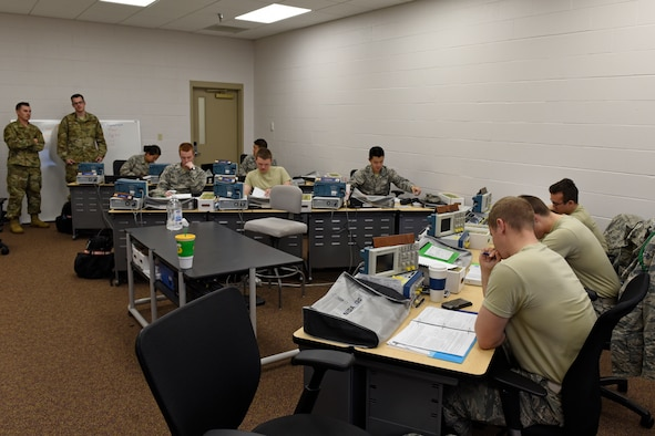 Special Instrument Training students work in the classroom at their new location at the Louis F. Garland Department of Defense Fire Academy Nov. 21, 2019. The Spinstra program was located at the Brandenburg Hall but is now with the 312th Training Squadron. (U.S. Air Force photo by Airman 1st Class Zachary Chapman)