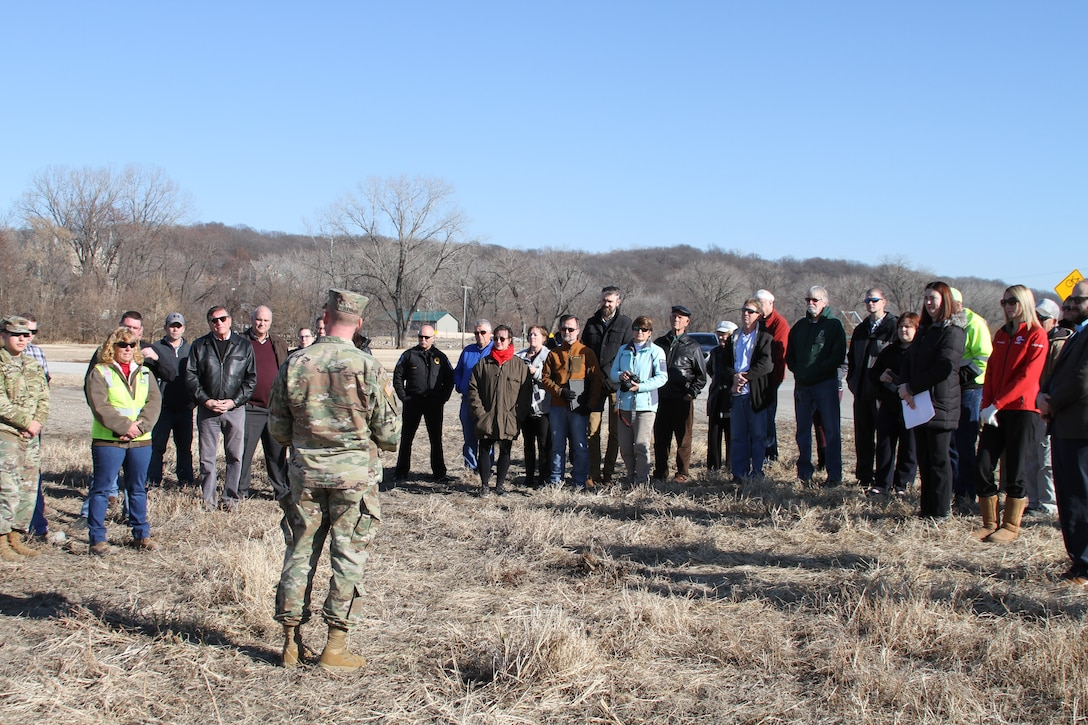 Col. Bill Hannan spoke with the group of interested partners who helped get the project to the stage of construction now has begun at the groundbreaking ceremony held by the City of Parkville, Mo., December 11, 2019. Big dirt turning will likely be in early January with BKM Construction LLC of Leavenworth, Kan., a local veteran-owned small business, doing the work.