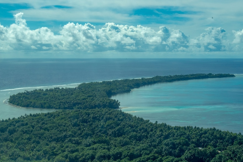 The tail end of Woleai, an atoll