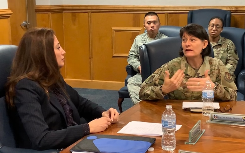 (Right) Brigadier Gen. Patrice Melancon, Tyndall Program Management Office executive director, (Left) Dr. Julia Nesheiwat, Florida Chief Resilience Officer, discuss plans for the rebuild during a visit to the base and with the Tyndall PMO staff.