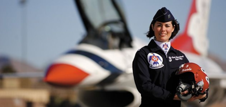 "Retired Col. Nicole ""FiFi"" Malachowski, the first female Thunderbirds Air Demonstration Team pilot, will visit Schriever Air Force Base Dec. 19. Malachowski comes to share a message of resurgence. A concept that goes beyond resilience, Malachowski coined the word resurgence to describe the action of coming out a new, changed and better person from your circumstances and adversities. (Courtesy photo)"