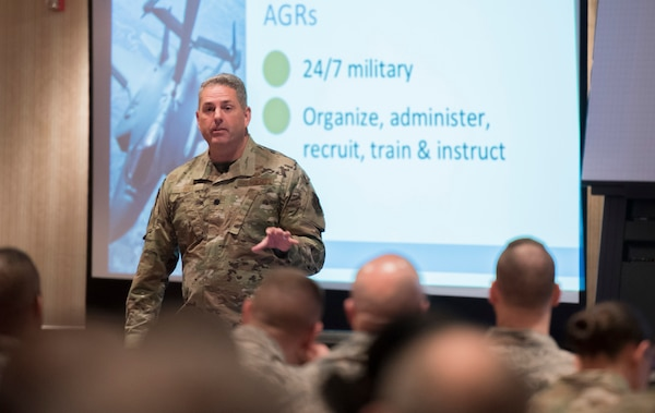 Lt. Col. Bradley Ball, staff judge advocate for the 164th AW and Contemporary Base Issues course director, discusses duty status at the CBI course hosted by the 167th Airlift Wing in Shepherdstown, W.Va., Nov. 15, 2019.