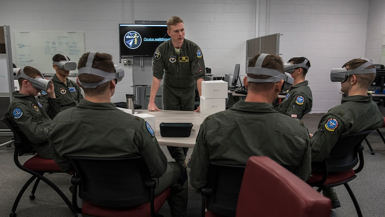 Euro-NATO Joint Jet Pilot Training Program student pilots use virtual reality headsets at Sheppard Air Force Base, Texas, Dec. 10, 2019. The ENJJPT program allows student pilots access to the Spark Cell at Sheppard. The Spark Cell incorporates virtual and augmented reality into the student pilots training. They are allowed to check out headsets or schedule time to use the stations to continue their training without having to get into an actual plane. (U.S. Air Force photo by Senior Airman Pedro Tenorio)