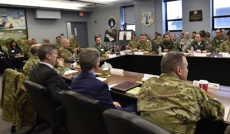 New York Army National Guard Maj. Gen. Ray Shields (center right), the adjutant general of New York, and Brazilian Maj. Gen. Marcio de Calazans Braga (center right), the Brazilian military attache in Washington, D.C., meet with members of the New York Air and Army National Guard and U.S. Southern Command and State Department representatives Dec. 11, 2019, at Stratton Air National Guard Base in Scotia, N.Y. The two-day meeting was held to discuss training and exchange opportunities as part of the National Guard State Partnership Program. (U.S. Air National Guard photo by Senior Master Sgt. William Gizara)