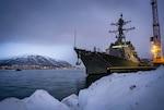 USS Gridley (DDG 101) is moored pier side in Tromso, Norway