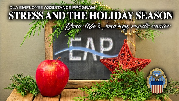Christmas holiday background with chalkboard and DLA logo.