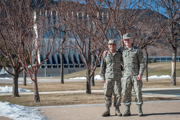 Cadets 4th Class Chanyuthea Nou and Zachary Olson appear on terrazzo at the Air Force Academy, Colo., Dec. 12, 2019. Olson and his squad mates helped raised more than $4,500 to send Nou home to Cambodia for the holidays.