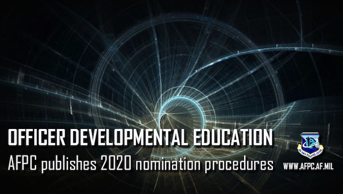 Graphic with news lead information for Air Force 2020 officer developmental education procedures