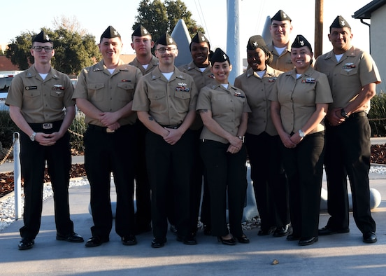 U.S. Navy Analysis and Reporting course graduates pose for a photo outside of the Center for Information Warfare Training Detachment on Goodfellow Air Force Base, Texas, Dec. 12, 2019. The CIWTD graduates attended the course through the 316th Training Squadron. (U.S. Air Force photo by Airman 1st Class Abbey Rieves)