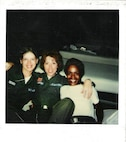 Photo of Susan Whaley (center) during basic military training.