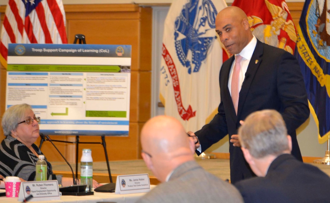 Army Col. Hise Gibson, professor of systems engineering at the U.S. Military Academy West Point, shares his research on how employees working on multiple projects simultaneously are effected by change during a DLA Troop Support Campaign of Learning event Dec. 5, 2019, in Philadelphia.