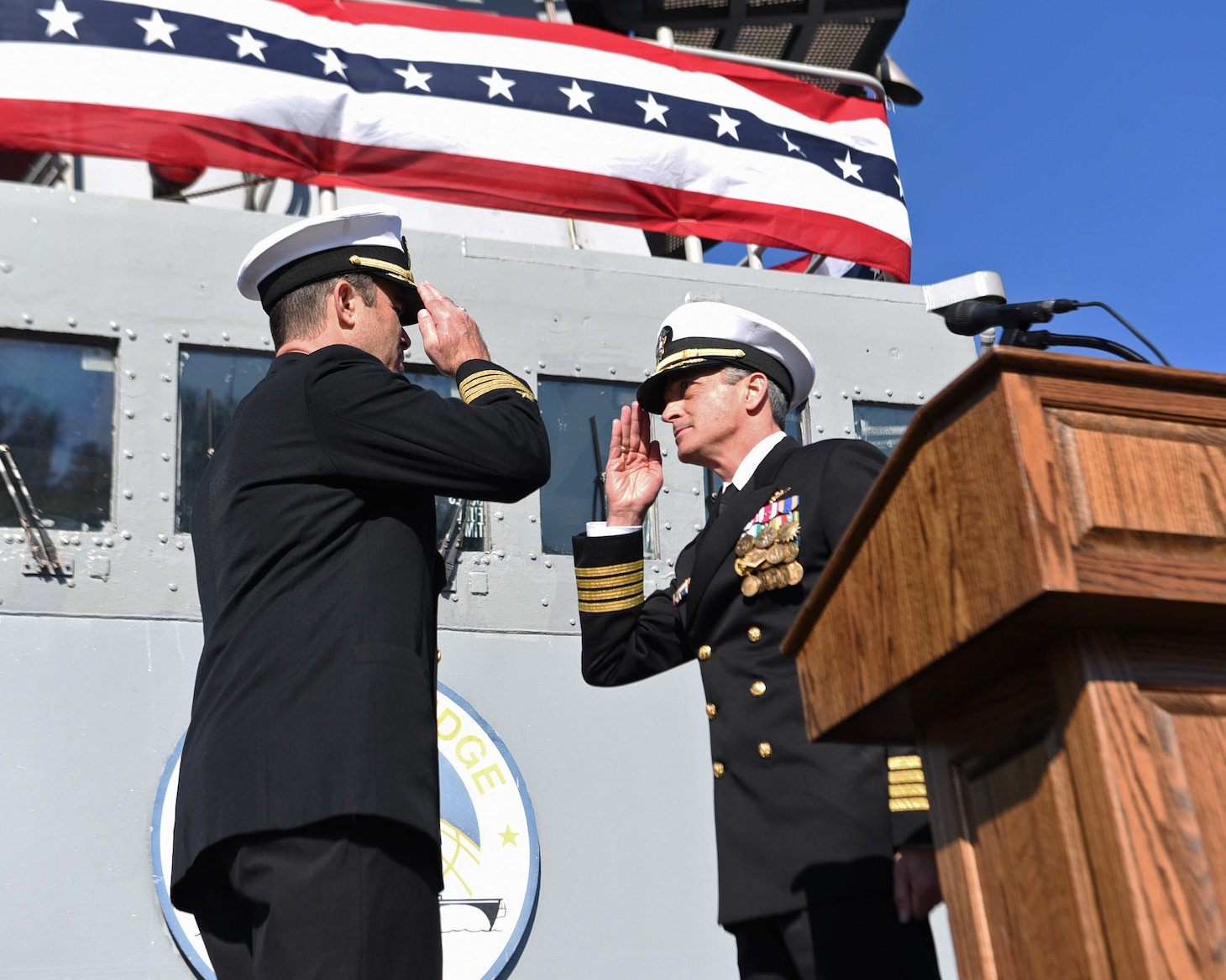 YOKOSUKA, Japan (Dec. 12, 2019) Outgoing Commanding Officer Capt. Eric J. Anduze, a native of Manati, Puerto Rico, relinquishes command of 7th Fleet flagship USS Blue Ridge (LCC 19) to Capt. Craig Sicola, from Dallas, during a change of command ceremony aboard. Blue Ridge, part of Expeditionary Strike Group 7, is the oldest operational ship in the Navy and, as 7th Fleet command ship, actively works to foster relationships with allies and partners in support of security and stability within the Indo-Pacific Region.