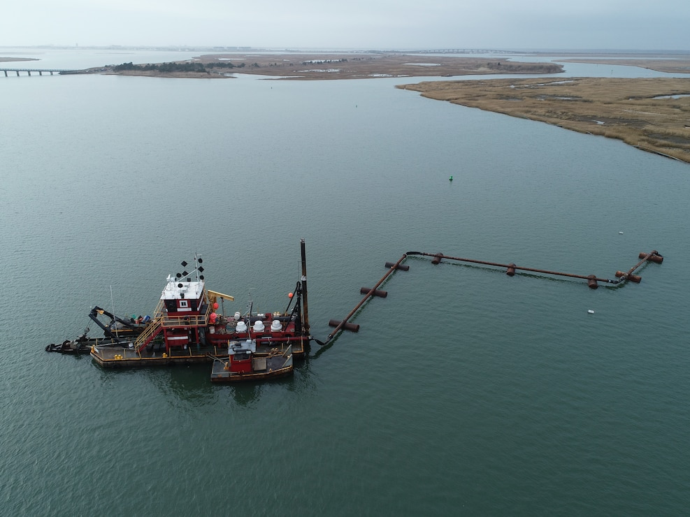 The Dredge Fullerton, owned and operated by Barnegat Bay Dredging Company, conducts dredging in the New Jersey Intracoastal Waterway near Stone Harbor, NJ in 2019 as part of a U.S. Army Corps of Engineers project. The sediment was placed to create habitat on marshland owned by the New Jersey Division of Fish & Wildlife.