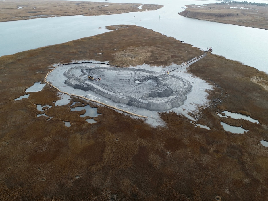 USACE and partners completed a dredging and habitat creation project at Great Flats near Stone Harbor, N.J. in December of 2018. Work involved dredging the New Jersey Intracoastal Waterway and using the material to create habitat.