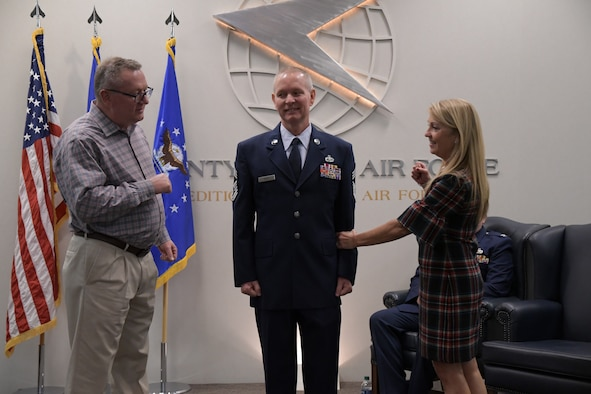 Senior Master Sgt. Carlton Mayo, 22nd Air Force aircraft maintenance and systems equipment program manager, recently promoted to chief master sergeant during a promotion ceremony held here Dec. 8, 2019. (U.S. Air Force photo/Senior Airman Justin Clayvon)