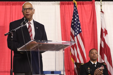 Raynald Blackwell, Capital Guardian Youth Challenge Academy Director, addresses cadets graduating from the Capital Guardian Youth Challenge Academy at the District of Columbia National Guard's Armory Dec. 10. (Photo by Sgt. John Stephens, District of Columbia Army National Guard 715th Public Affairs Detachment)