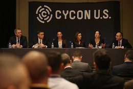 Cyber experts discuss data and sovereignty and how it pertains to Defending Forward during their panel at the International Conference on Cyber Conflict U.S.
