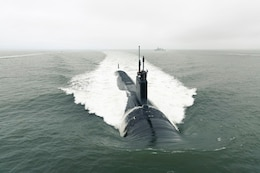 "A new mindset for the Army: silent running. The Virginia-class attack submarine Indiana departs Newport News Shipbuilding to conduct sea trials. The Indiana is one of the last of the Block III Virginias. The Army may want to consider following the idea of ""silent running"" that many submarines use to operate."
