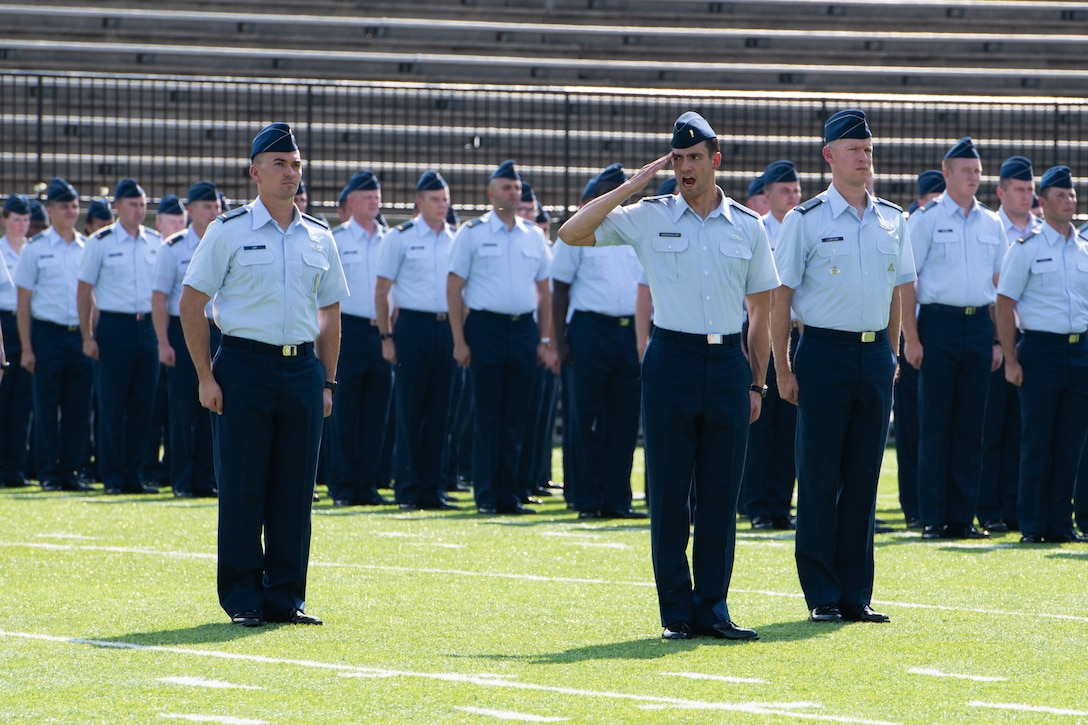 A newly commissioned officer a part of the Air Force's Officer Training School class 19-07 participates in the graduation ceremony Sept. 27, 2019, in Montgomery, Alabama. The OTS graduation parade and ceremony signifies the end of the trainee's initial officer training and the beginning of their career as an Air Force officer. (U.S. Air Force photo by Airman 1st Class Charles Welty)