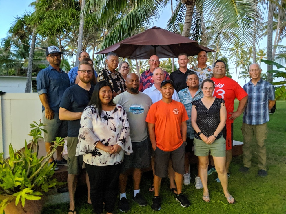 Honolulu District Commander Lt. Col. Kathryn Sanborn, Deputy District Engineer for Programs and Project Management Steve Cayetano (first row right), Florence Ching, chief, Military Programs Branch, and Gary Shirakata, Kwajalein Program Manager, met with employees of Honolulu District's Kwajalein Resident Office. Their three-day trip to the Republic of Marshall Islands included meeting new leadership, engaging partners and personnel, as well as project site visits to Echo Pier, the Ronald Reagan Test Site (RTS), and several Army family housing units.