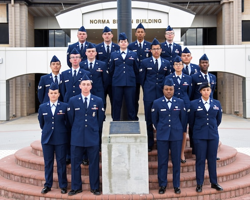 Graduates of Airman Leadership School Class 20-A pose for a class photo on Goodfellow Air Force Base, Texas, November 27, 2019. ALS is a four-week course designed to give senior airmen an understanding of their role as military supervisors and how they contribute to the overall goals and mission of the Air Force. (U.S. Air Force photo by Airman 1st Class Ethan Sherwood)
