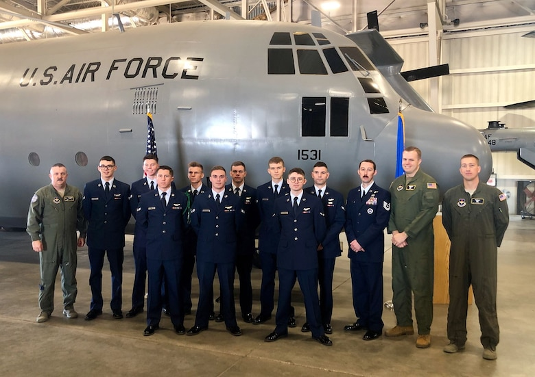 Nine Airmen graduate from the Basic Flight Engineer Course at the 344th Training Squadron, Career Enlisted Aviator Center of Excellence, as the first-ever class comprised completely of non-prior service students at Joint Base San Antonio-Lackland, Texas, 13 Dec. These new aviators will go on to man crew position on aircraft responsible for monitoring and controlling aircraft systems, computing aircraft performance, calculating weight and balance and cross checking pilot actions.