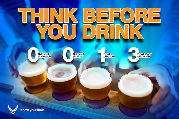 This infographic serves as a reminder regarding alcohol consumption. The formula, 0-0-1-3, means zero underage drinking, zero drinks if driving, no more than one standard drink per hour, and no more than three drinks per occasion. (U.S. Air Force graphic by David Perry)