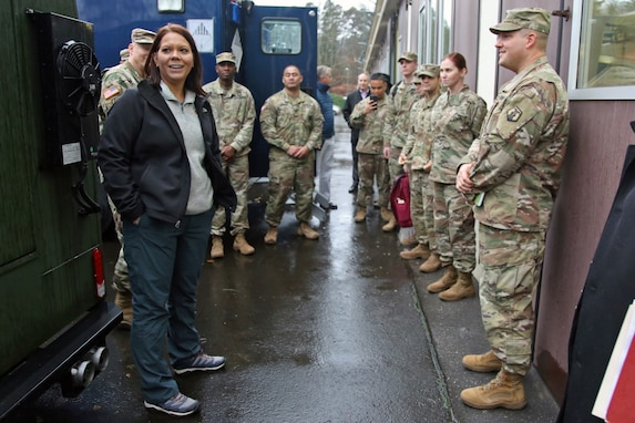U.S. Army Reserve Lt. Col. Eric Samaritoni (right), commander of the 773rd Civil Support Team, 7th Mission Support Command, and his team of Soldiers meets with Dr. Brandi C. Vann, deputy assistant secretary of defense for U.S. Chemical and Biological Defense, after she toured the 773rd headquarters on Panzer Kaserne in Kaiserslautern, Germany, December 11, 2019. The 773rd is the only Civil Support Team in the U.S. Army Reserve and the European theater of operations. (U.S. Army Reserve photo by Sgt. 1st Class Joy Dulen)