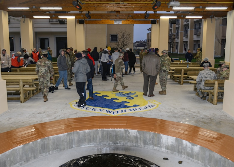 U.S. Air Force Airmen from the 31st Fighter Wing attend a grand opening ceremony for a new dorm pavilion at Aviano Air Base, Italy, Dec. 13, 2019. The construction of the pavilion was in effect for 11 months and was built for dorm Airmen. (U.S. Air Force photo by Airman Thomas S. Keisler IV)