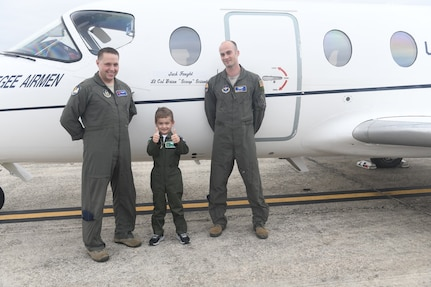 Jack Faught participated in Joint Base San Antonio's Pilot for a Day program Dec. 12, 2019 at JBSA-Randolph. The Pilot for a Day program supports children with lifelong disabilities, providing them a once-in-a-lifetime experience in the life of a U.S. Air Force pilot by accompanying them through various units on base packed with personalized pilot experiences.