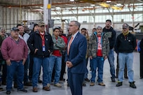 AMCOM Deputy to the Commanding General, Bill Marriott, speaks to employees at Corpus Christi Army Depot, Texas, last month. Marriott is retiring after 44 years of federal service.