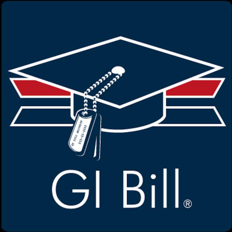 Graduation cap with dog tag tassel GI Bill graphic