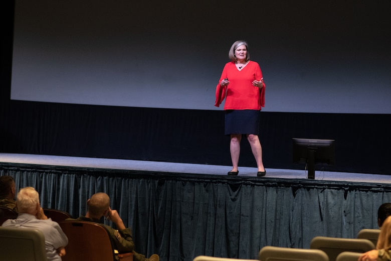 Kristen Christy, 2018 Air Force Spouse of the Year, speaks with Air University personnel Dec. 9, 2019, on Maxwell Air Force Base, Alabama. Christy opened up to the crowd, sharing her life story and giving advice for dealing with adversity. (U.S. Air Force photo by Senior Airman Charles Welty)