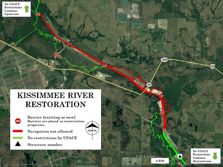 The U.S. Army Corps of Engineers Jacksonville District has closed additional portions of the Kissimmee River to navigation.  In addition to the 10 miles of canal that was closed this summer, the Corps is also restricting boating on the historic oxbows north and south of the U.S. Highway 98 bridge located 20 miles northwest of Okeechobee.