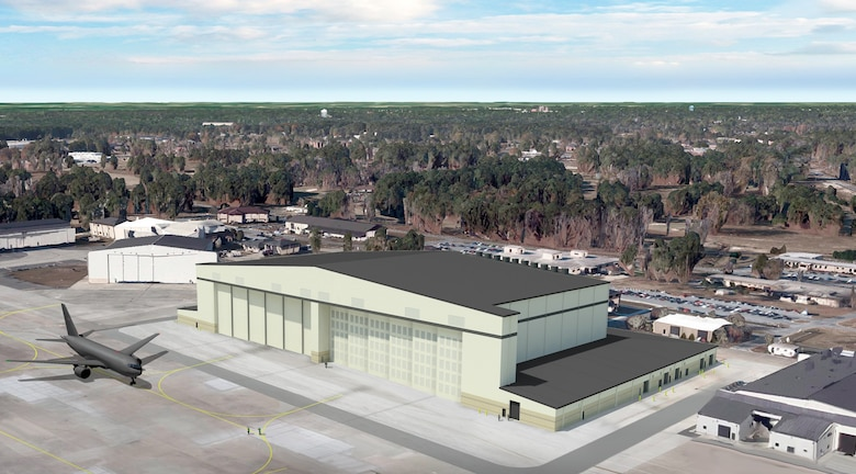 Rendering of what the new KC-46A Pegasus Hangar will look like once completed.