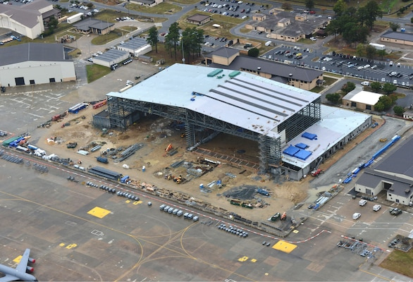 The new $59.5 million hangar currently under construction at Seymour Johnson Air Force Base in Goldsboro, N.C., will support the new KC-46A Pegasus, a mid-air refueling tanker set to arrive at the installation in the summer of 2020.