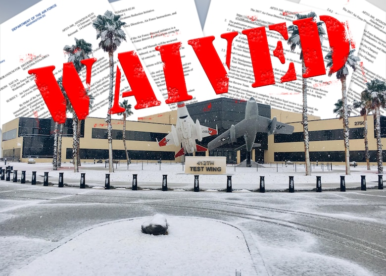 "This winter is officially ""The Winter of Waivers"" at Edwards AFB. All members are encouraged to identify opportunities to seek waivers to improve mission effectiveness at the Center of the Aerospace Testing Universe. When done right with a focus on risk management, common sense waiving of provisions can enhance the 412 TW's ability to support the Warfighter and makes the Air Force as a whole, a more effective force. (U.S. Air Force graphic by Giancarlo Casem)"