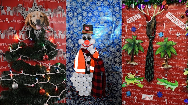 three office doors covered in holiday wrapping paper and decorations