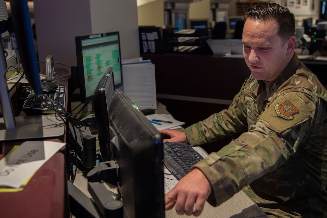 Staff Sgt. Caleb Shackelford, 22nd Space Operations Squadron defensive counter-space operator, monitors the Air Force Satellite Control Network link protection system to detect and investigate abnormal signals that could impact the AFSCN and its users, at Schriever Air Force Base, Colorado, Dec. 16, 2019. Shackelford is the first Airman assigned to this position, which was stood up in 2016. (U.S. Air Force photo by Airman 1st Class Jonathan Whitely)